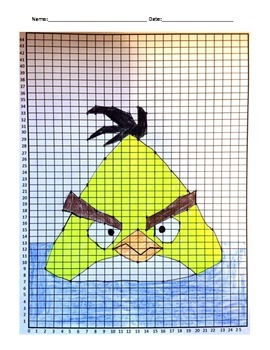 Coordinate Pictures Angry Birds Ordered Pairs - Yellow Bird