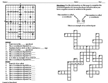 Coordinate Plane Crossword Puzzle