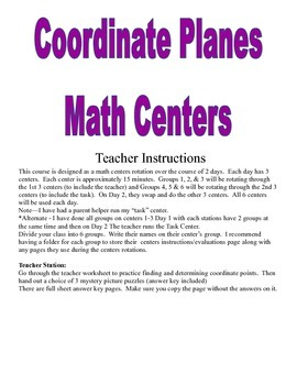 Coordinate Plane Math Centers and Activities