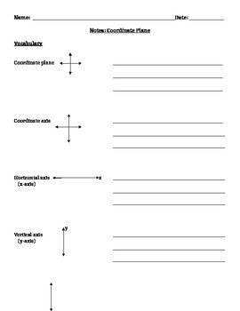 Coordinate Plane Notes and Assignments