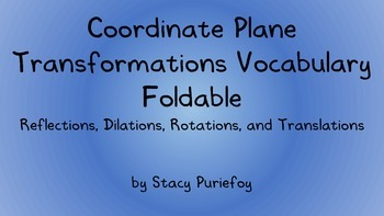 Coordinate Plane Transformations Vocabulary Foldable