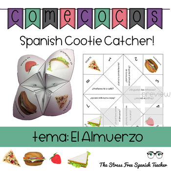Spanish Fortune Teller Comecocos GUSTAR + Almuerzo Food Words
