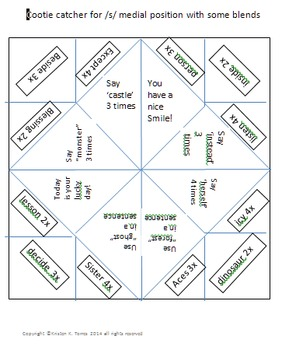 Cootie catchers bundle to practice /s/ in all positions