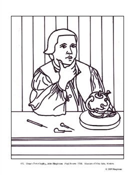Copley, John Singleton. Paul Revere. Coloring page and les