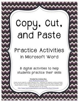 Copy, Cut and Paste Practice Activity Bundle (in Word)