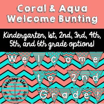 Coral & Aqua Welcome to ___ Grade! Printable Bunting