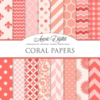 Coral Digital Paper patterns - bright color pink red scrap