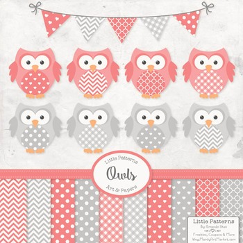 Coral & Grey Owl Vectors & Papers - Baby Owl Clipart, Owl