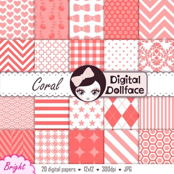 Coral / Melon Pink Digital Paper - Basic Bright Background