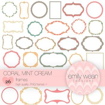 Coral Mint Cream - Digital Frames