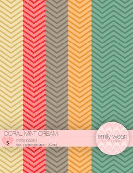 Coral Mint Cream - Digital Paper - Chevron Background