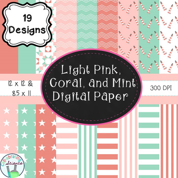Coral, Mint, and Light Pink Digital Paper Bundle