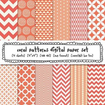 Coral Patterns Digital Paper Set, Coral Digital Background