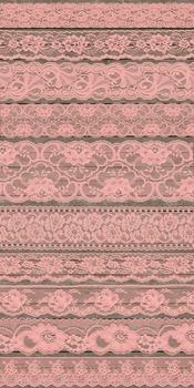 Coral Peach Pink Salmon Lace Borders Clipart digital scrap