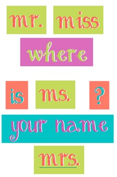Coral, Purple, Teal and Green - WORDS for your Where is th