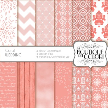 Coral Wedding Digital Paper, scrapbook backgrounds