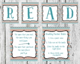 Coral and Blue Read Set classroom Decor, Dr. Seuss Quote,