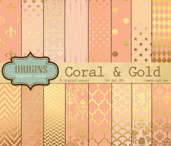 Coral and Gold digital paper, Scrapbook pack, salmon peach