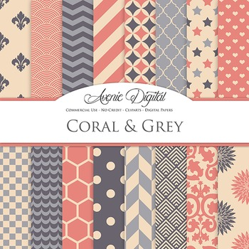 Coral and Grey Digital Paper patterns - backgrounds