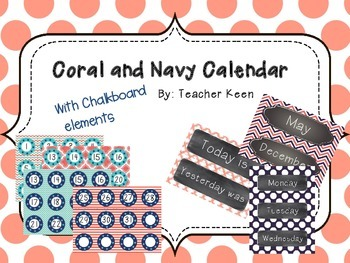Coral and Navy Calendar