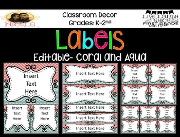 Coral and TurquoiseChevron/ Polka Dot Labels- EDITABLE