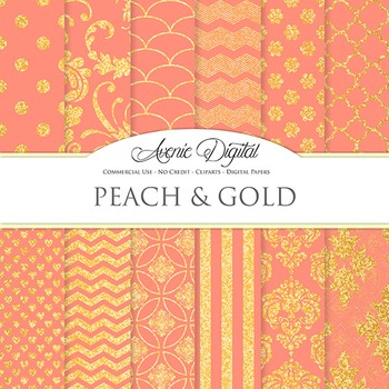 Coral peach and Gold Glitter Digital Paper sparkle pattern