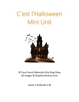 Core French Halloween Mini Unit Bundle for Levels 1-8
