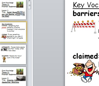 Core Knowledge Vocabulary Poster Cards Unit 11 Frontier Ex
