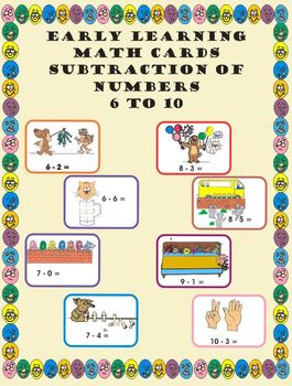 Core Skills - Early Learning - Subtraction Math Cards - 6 to 10