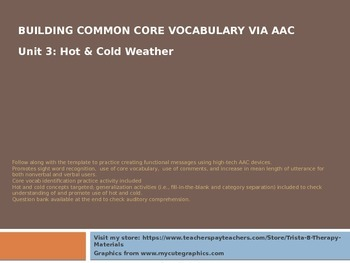 Core Vocabulary for AAC Users & Nonverbal Students: Unit 3