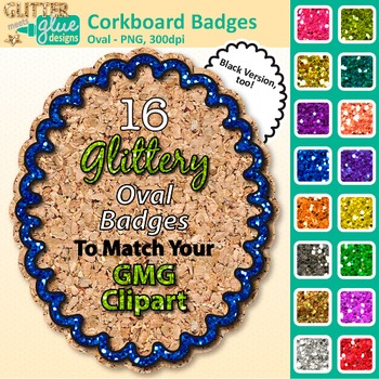 Corkboard Frame Clip Art {Oval Rainbow Glitter Labels for