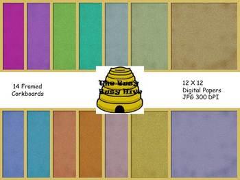 Framed Corkboards Digital Papers {14 backgrounds for perso