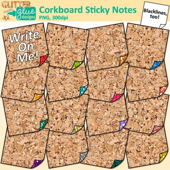 Corkboard Sticky Notes Clip Art {Back to School Supplies f