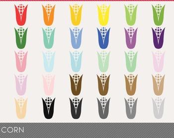 Corn Digital Clipart, Corn Graphics, Corn PNG, Rainbow Cor