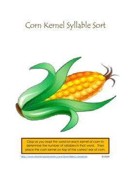 Corn Kernel One, Two, and Three Syllable Sort center activ