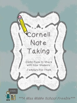 Cornell Note Taking Demo Page and Template