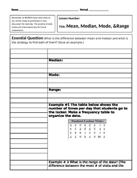 Cornell Notes Central Tendency