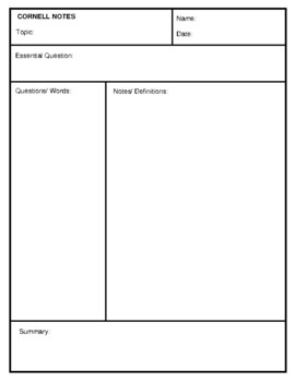 Cornell Notes Templates - 3 different variations