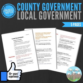 Cornell Notes (Local Governments) County Government