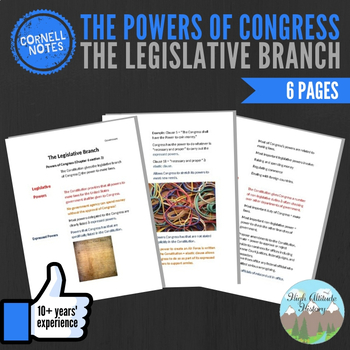 Cornell Notes (The Legislative Branch) The Powers of Congress