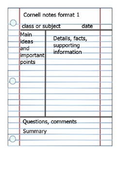 Cornell notes formats