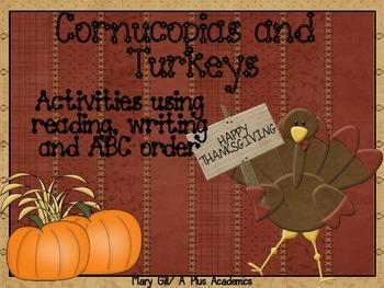Second Grade Thanksgiving Reading Activities with Cornucop