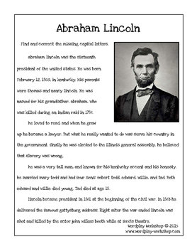 Correct the Capitals -- Abraham Lincoln