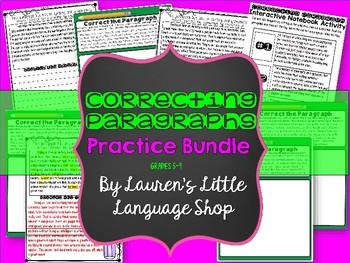 Correcting Paragraphs Worksheet Bundle