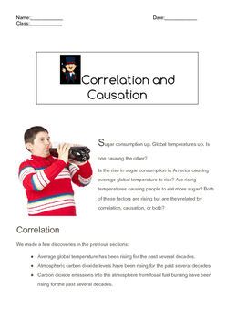 Correlation and Causation CCSS.MATH.CONTENT.HSS.ID.C.9