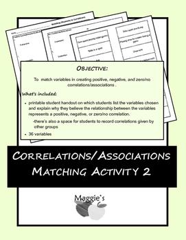 Correlations/Associations Matching Activity 2