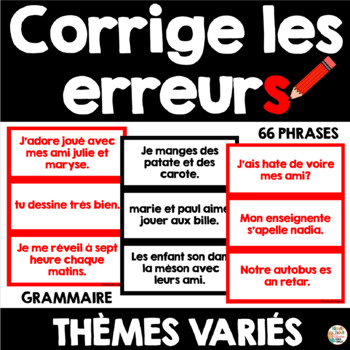 Grammaire - Corrige les erreurs  (Thèmes variés pour l'ann