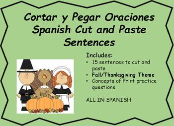 Cortar y Pegar Oraciones Dia de Gracias Spanish Cut and Pa