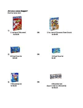 Cost Per Unit (Fun Way to Divide with Decimals)