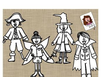Costume Parade B&W Bundle by Marilou's Doodles
